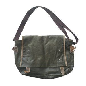 Waxed canvas & suede messenger bag